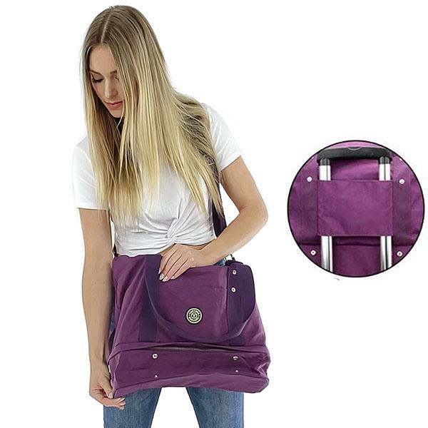 Purple weekender travel bag shoes compartment nylon