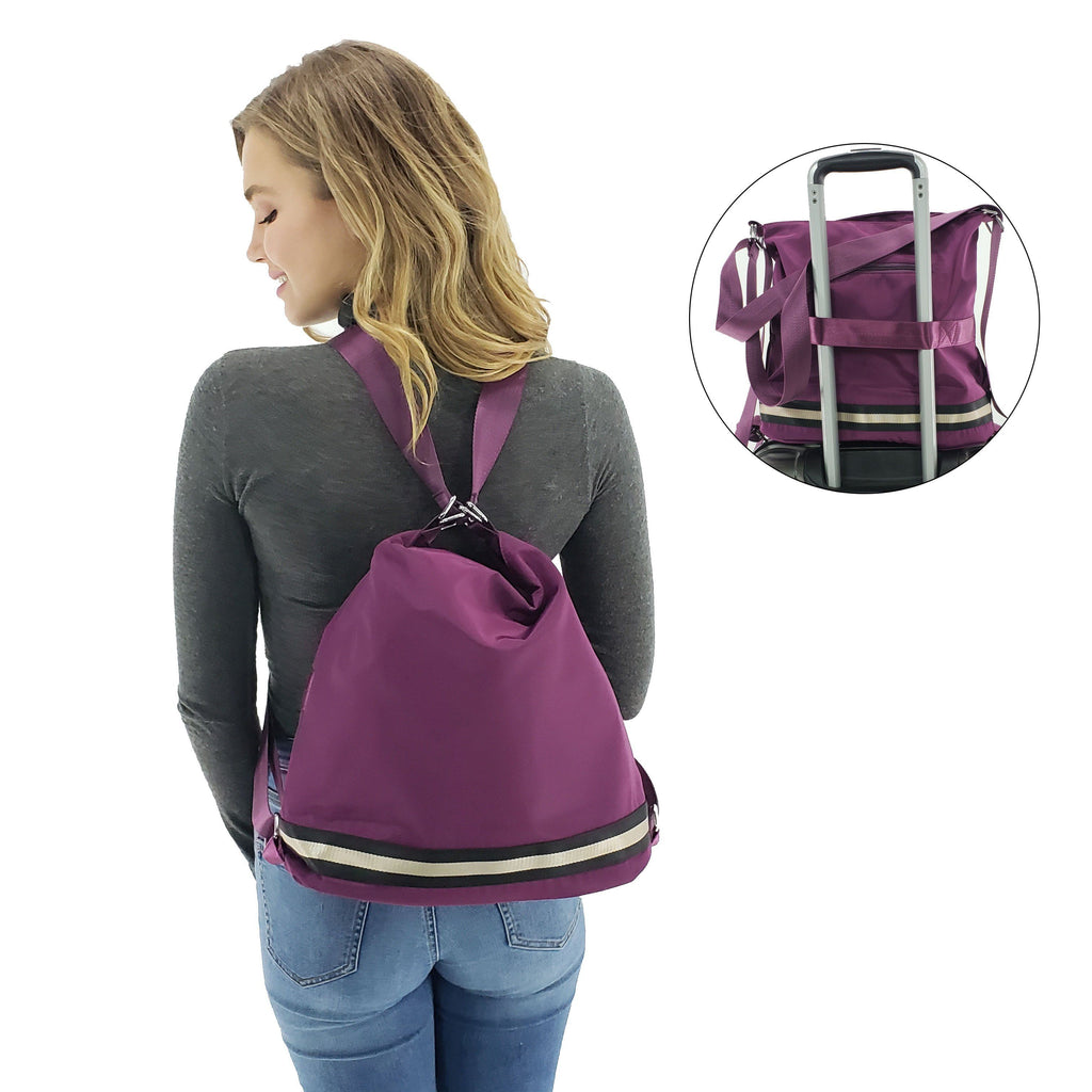 Travel convertible nylon bag trolley sleeve, Black, Deep blue, Purple, Burgundy