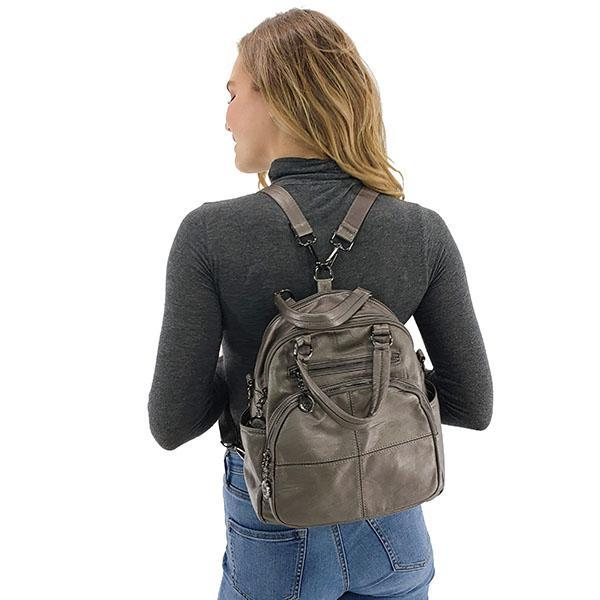 Vegan leather convertible backpack purse leather, Black, Blue, Gray, Wine Red, Bronze, Purple