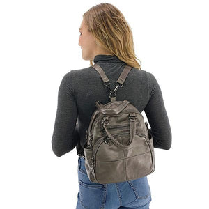 Vegan leather convertible backpack purse leather
