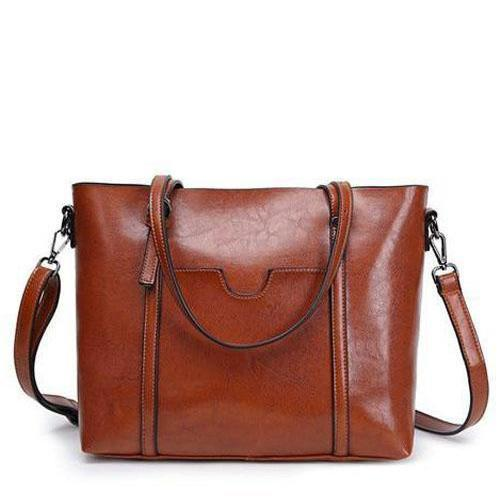 brown leather tote with zipper