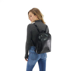 Leather backpack purse black