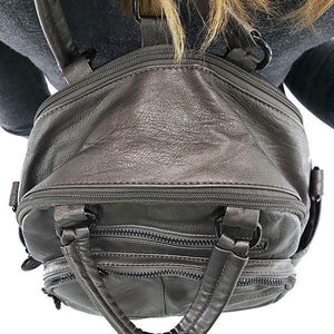 Backpack purse with double compartment