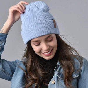 women wearing fluffy beanie hat