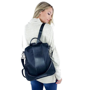 black anti theft women's backpack purse