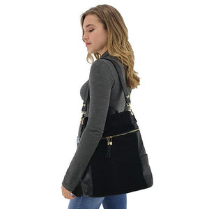 black leather and suede backpack