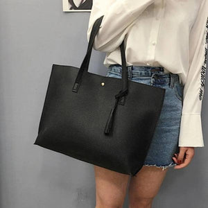 Cheap black leather tote bag with shoulder strap