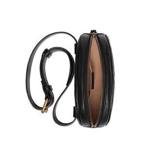 black leather fanny pack with zipper closure