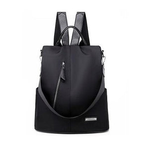 Black convertible nylon backpack purse anti theft