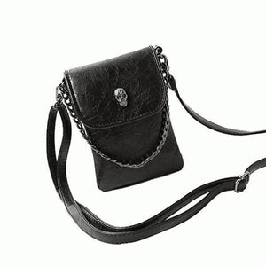 Black crossbody phone bag with skull head