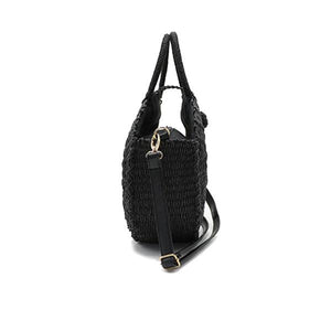black straw round bag with leather strap