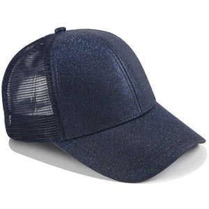 Blue ponytail baseball cap with glitter