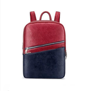Red and blue leather convertible backpack