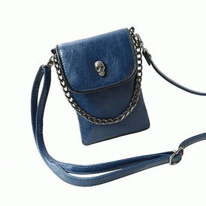 Blue crossbody phone bag with skull head
