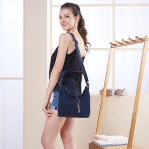 blue suede crossbody hobo bag