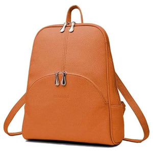 Brown small leather backpack purse for women