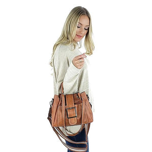 Brown handbag with top handles and buckle