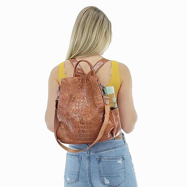 Faux crocodile leather backpack purse, Black, Brown