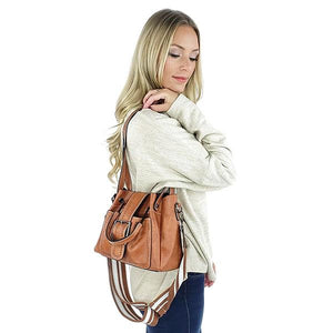 Brown crossbody shoulder bag with buckel and top handles