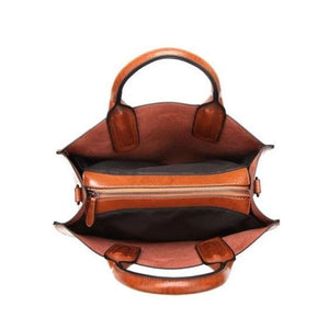 Brown Tote bag with zipper compartment