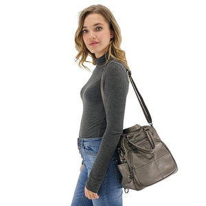 Convertible backpack shoulder bag gray leather