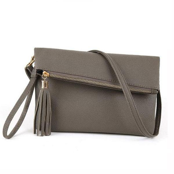 Dark grey leather clutch with crossbody strap