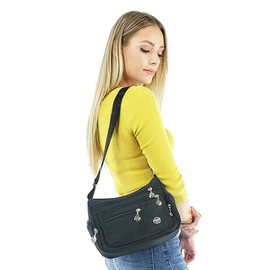 Black nylon crossbody bag