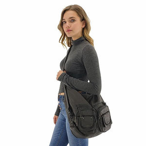 Crossbody gray backpack purse