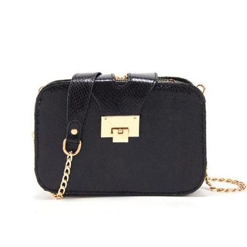 Black serpentine Crossbody bag with chain and triple compartment