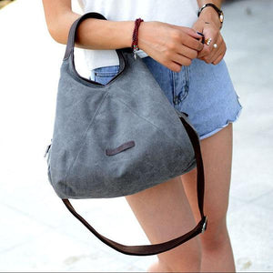 Canvas grey crossbody handbag women