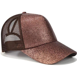 Brown ponytail baseball cap with glitter