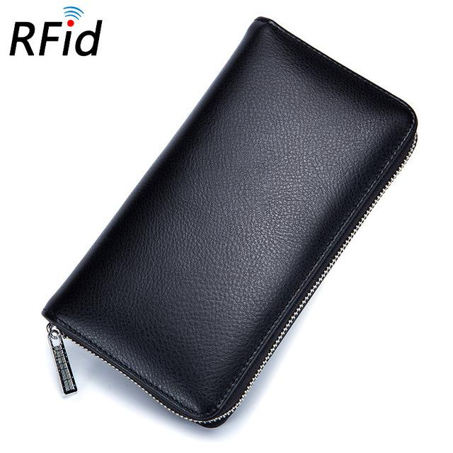 Large rose red leather rfid wallet