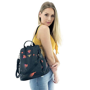 Floral shoulder backpack purse