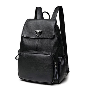 Black womens leather backpack with front zipper pocket