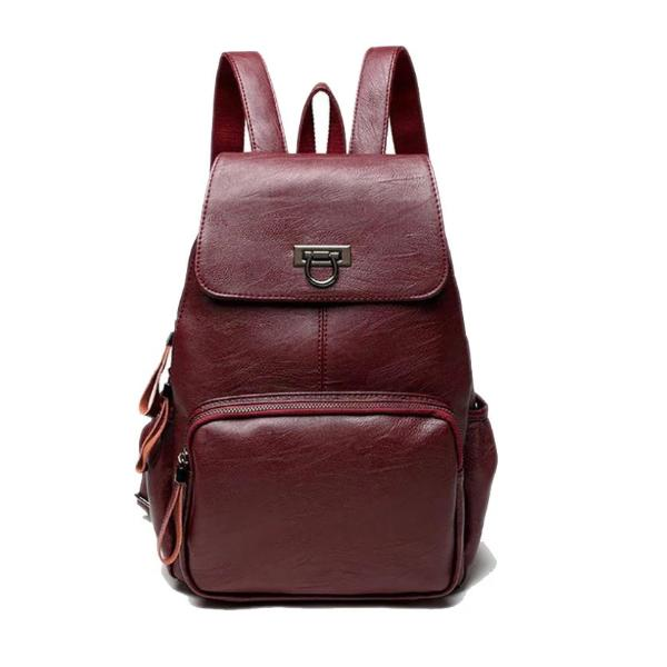 Red womens leather backpack with front zipper pocket