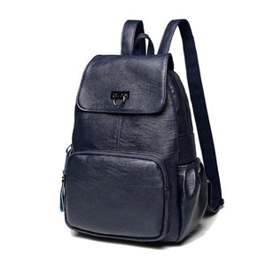 Blue womens leather backpack with front zipper pocket