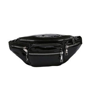 Glossy black fanny pack