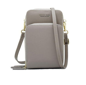 Gray small crossbody bag cell phone purse