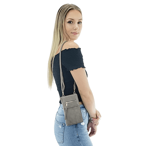 gray crossbody phone bag for women
