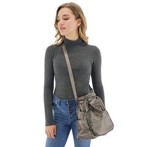 gray leather crossbody backpack purse