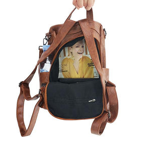 backpack with back zipper