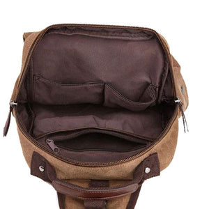 Interior canvas sling backpack