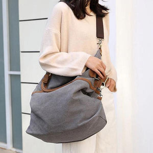 womens canvas laptop bag grey