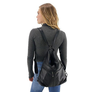 Leather convertible backpack purse
