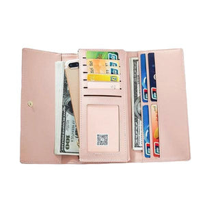 leather pink wallet with lots of cards slots