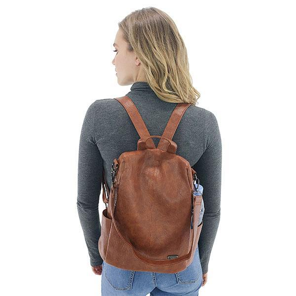 Leather purse backpack, Black, Brown, Green