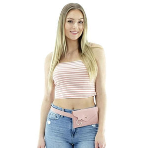 cute leather pink belt bag