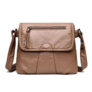 Khaki leather flap bag with triple compartment
