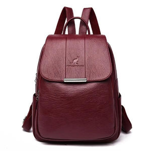 Red wine cute leather backpack for women