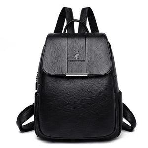 Black cute leather backpack for women